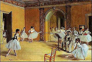 Louis Mérante - Edgar Degas included Mérante in his Foyer de Danse à l'Opéra de la rue Le Peletier, which shows the Balletmaster rehearsing in the Foyer de la Danse of the Salle Le Peletier, 1872