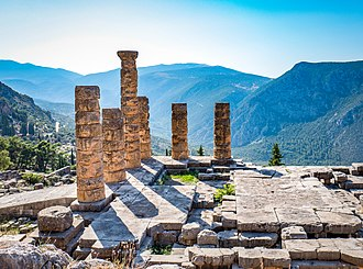 Delphi - Ruins of the ancient temple of Apollo at Delphi, overlooking the valley of Phocis.