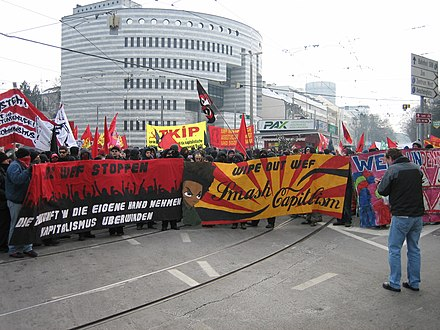 Protest march against the WEF in Basel, 2006. Demo-gegen-wef.jpg