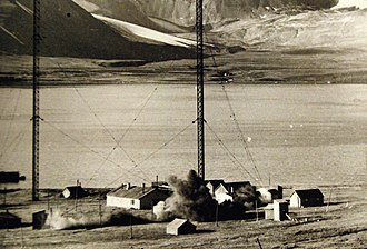Svalbard - Demolition of the wireless station during Operation Gauntlet in 1941