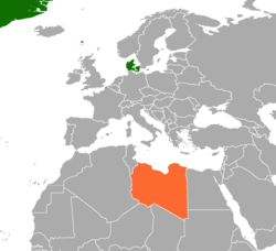 Map indicating locations of Denmark and Libya