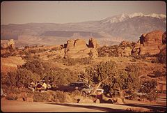 Devil's Garden Campground. Many Good Hiking Trails Being Here. Lasal Mountains Are in the Background, 05-1972 (3814965316).jpg