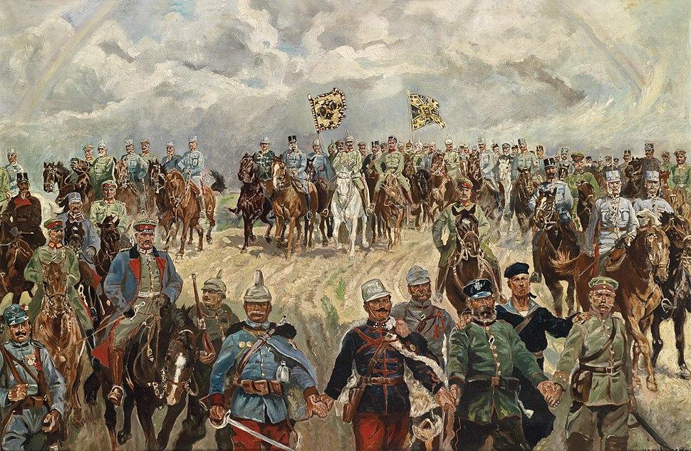 Die verb%C3%BCndeten Monarchen mit ihren Feldherren im 1. Weltkrieg