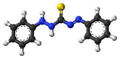 Ball-and-stick model of the dithizone molecule