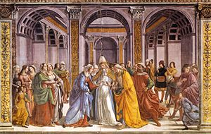 Espousals of the Blessed Virgin Mary - Image: Domenico Ghirlandaio Marriage of Mary WGA8838