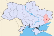 Map of Ukraine with Donetsk highlighted.
