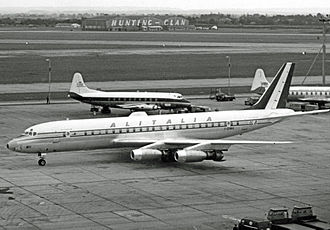 Alitalia-Linee Aeree Italiane - Alitalia Douglas DC-8 at London Heathrow Airport in August 1960