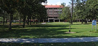 University of Florida Campus Historic District - Looking north across the plaza, towards Library West