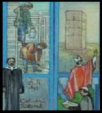 Clement of Dunblane - Modern artist's depiction of the building of Dunblane Cathedral, supervised by Bishop Clement