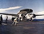 E-1B VAW-12 on cat of USS FD Roosevelt (CVA-42) 1961.jpg