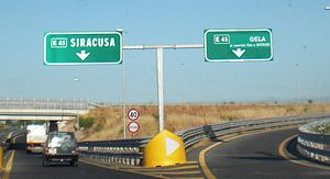 European route E45 - Signs for the E45 route in Sicily.