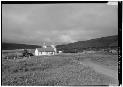EAST AND NORTH SIDES, VILLAGE TO RIGHT - Protection of the Holy Thestokos Russian Orthodox Church, Kodiak Island, Akhiok, Kodiak Island Borough, AK HABS AK,12-AKHI,1-4.tif