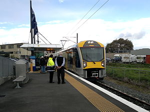Onehunga Branch - An EMU arrives at Onehunga Railway Station on its first day of public service