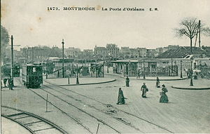 Porte d'Orléans - The Porte d'Orleans in the early twentieth century was already a transportation hub. From 1893 to 1937, the Arpajonnais, a meter gauge passengers line ran to Les Halles in Paris.