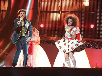 "Elvir Laković Laka - Laka and his sister performing ""Pokušaj"" on Eurovision Song Contest 2008"