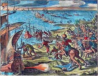 Second Siege of Diu - A battle between the Portuguese Armada and Turkish soldiers on horseback in Goa, western India