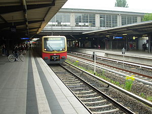 Berlin Westkreuz station - S7 train en route for Ahrensfelde arriving at the lower level Westkreuz station