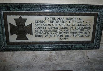 Edric Gifford, 3rd Baron Gifford - Gifford's memorial within Bosham Church