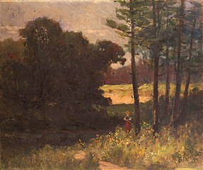 Untitled (landscape with trees and woman)
