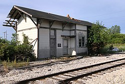 The defunct railway station