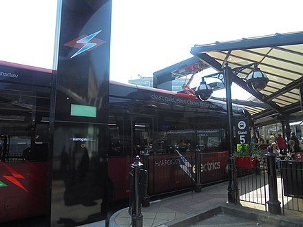 An electric bus charging at Harrogate bus station Electric bus on charge at Harrogate bus station (19th April 2019).jpg