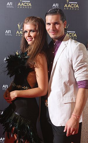 Gleb Savchenko - Savchenko (right) with Elena Samodanova (left) at the AACTA Awards in Sydney, Australia