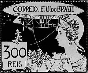 A Aeronáutica - Projeto para selo integrante da coleção vencedora do concurso dos Correios de 1904