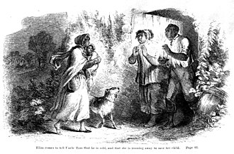 Uncle Tom's Cabin - Full-page illustration by Hammatt Billings for the first edition of Uncle Tom's Cabin (1852). Eliza tells Uncle Tom that he has been sold and she is running away to save her child.