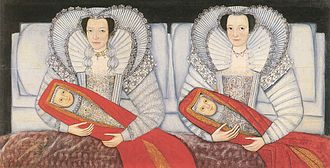 Swaddling - The Cholmondeley Ladies and their swaddled babies. c.1600–1610