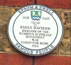 Photo of Emily Davison white plaque
