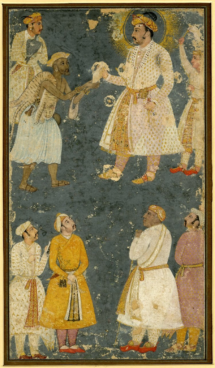 Emperor Jahangir receiving a petition from a fakir