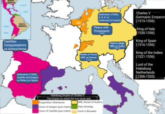The empire on which the sun never sets - The dominions of Charles V in Europe and the Americas included the Low Countries, the Spanish colonies in former Atzec and Inca territories, German Venezuela, Castille, Aragon and the Holy Roman Empire.