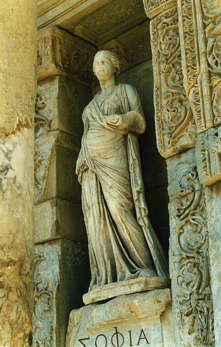 Personification of Wisdom (Koinē Greek: Σοφία, Sophía) at the Library of Celsus in Ephesus (second century).