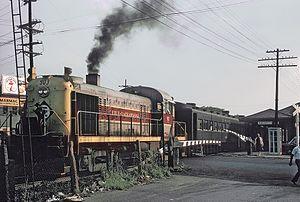 Essex Street station (NJ Transit) - An Erie-Lackawanna train leaving Hackensack station on September 3, 1965