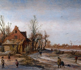 Esaias van de Velde - A Winter Landscape, oil on oak panel (1623)