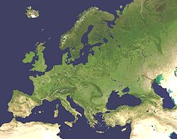 A satellite composite image of Europe