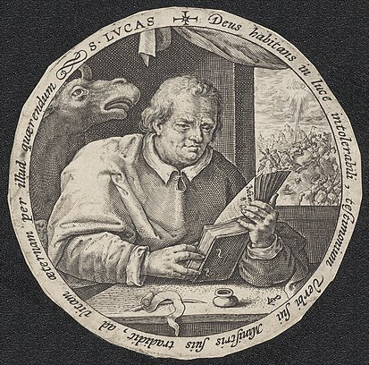 Print of Luke the Evangelist. Made by Crispijn van de Passe de Oude. Evangelist Lucas.jpg