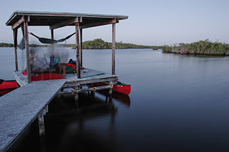 Chickee - Campers set up tents on a chickee in the Everglades National Park backcountry