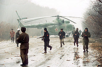 Second Chechen War - A Russian helicopter downed by Chechen militants near the capital Grozny, during the First Chechen War