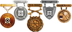 "Civilian Marksmanship Program - Example of different U.S. Armed Forces' Excellence-in-Competition Badges awarded based on ""leg points"" earned at CMP sanctioned competitions"