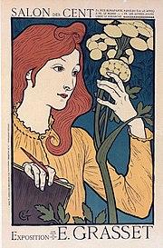グラッセ『Exposition Eugène Grasset au Salon des Cent』のポスター。パリ、装飾芸術美術館