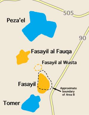 Fasayil - Fasayil with nearby Israeli settlements