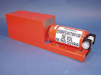 Flight recorder - An example of a flight data recorder; the underwater locator beacon is the small cylinder on the far right. (Translation of warning message in French: FLIGHT RECORDER DO NOT OPEN)  The warning appears in English on the other side.