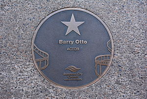 Barry Otto - Otto's plaque at the Australian Film Walk of Fame, The Ritz Cinema, Randwick, Sydney