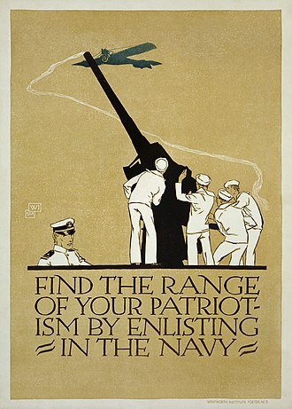 Military recruitment - United States Navy recruitment poster from 1918. Note the appeal to patriotism. (Digitally restored).
