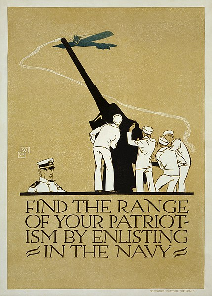 A recruiting poster for the Navy in WWI.