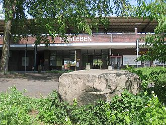 Ruhleben (Berlin U-Bahn) - Glacial erratic from the Murellenschlucht located in front of the station.