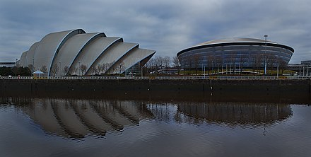 The Clyde Auditorium hosted Weightlifting and SSE Hydro hosted Gymnastics and Netball events Finnieston, Glasgow (27101316103).jpg