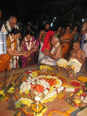 Kumbhabhishekham - First day Vedic rituals of Kumbhabhishekham of the restoration of the Gunjanarasimha Swamy Temple