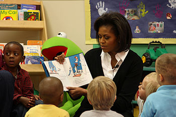 "First Lady Michelle Obama reads ""The Cat ..."